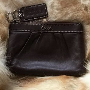 Coach Brown Rouched Nappa Leather Wristlet
